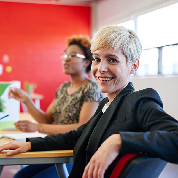 photo of female businesswoman smiling