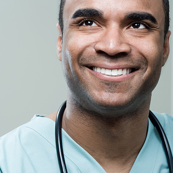 photo of a male nurse smiling